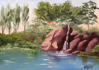 Daily Painter - Small Waterfall in the Spring Landscape Painting - Original Oil and Acrylic Art - Painting a Day by California Artist Mark A. Webster