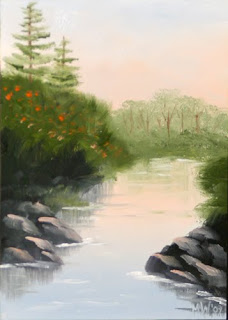 Daily Painter - Lakeside Cove with Pine Trees Landscape Painting - Original Oil and Acrylic Art - Painting a Day by California Artist Mark A. Webster