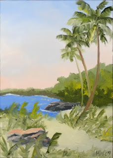 Daily Painter - Hawaiian Coast with Palm Trees - Original Oil and Acrylic Art - Painting a Day by California Artist Mark A. Webster