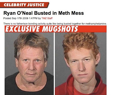ryan o'neal and sun busted for meth