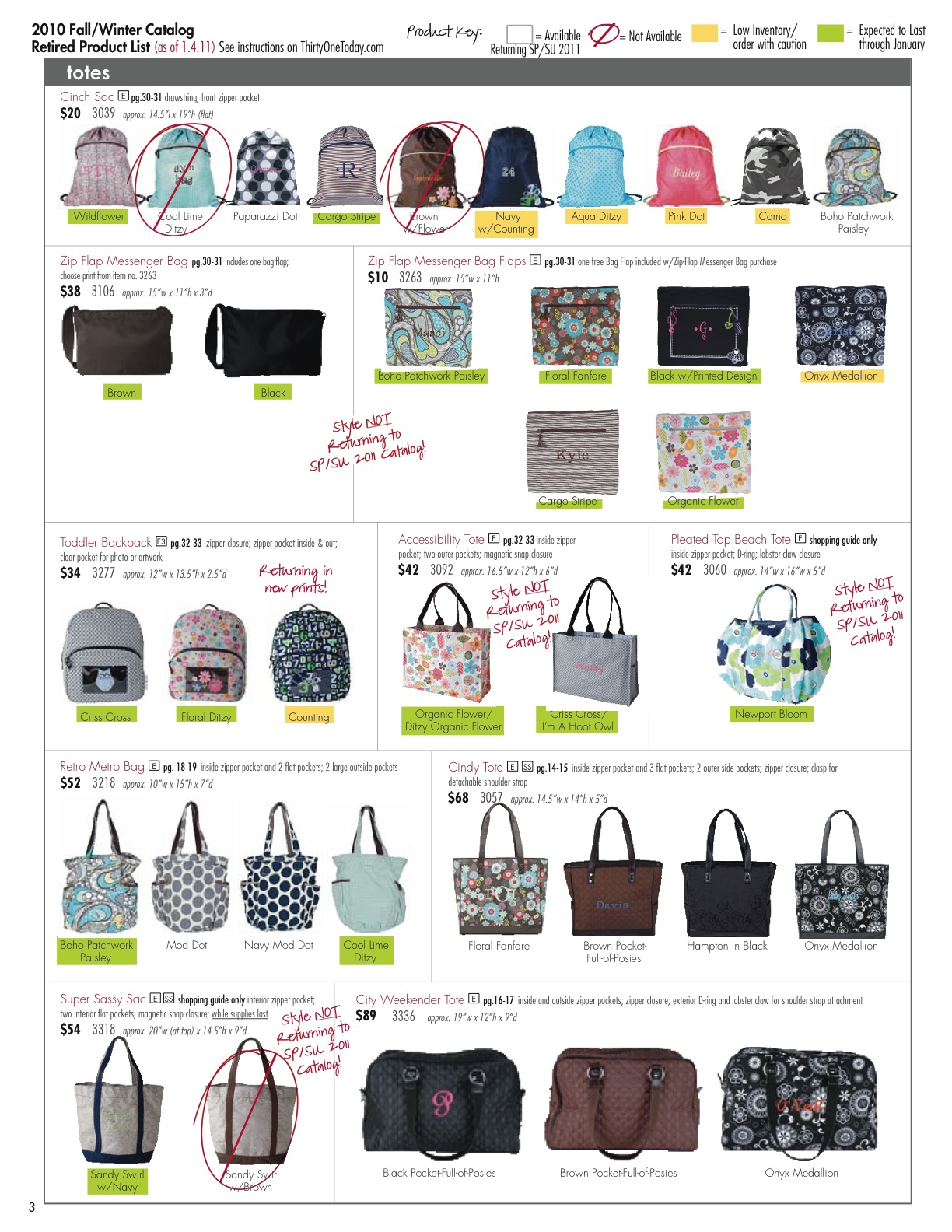 Personalized Bags, Totes and Gifts: 2010 Retired Products and Change ...