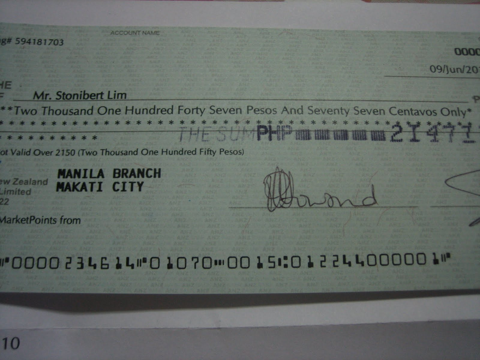 how to write a cheque anz