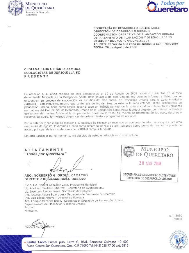 RESPUESTA DEL GOBIERNO MPAL