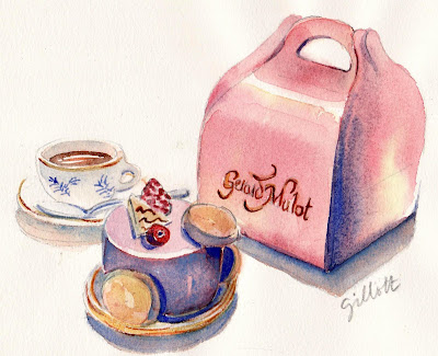 French Pastry watercolor - Paris Breakfasts