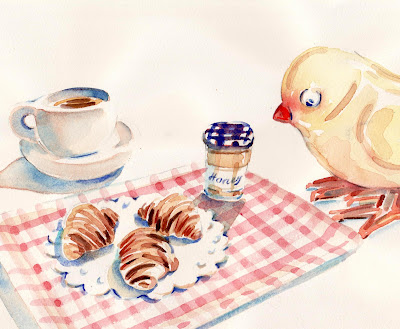 Yellow Bird has his petit dejeuner