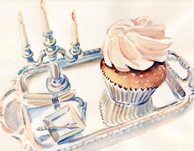 Mini cupcake on mini silver tray