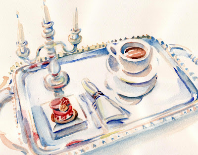 Pierre Herme Ispahan on a silver tray