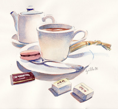 French Afternoon Tea watercolor - Paris Breakfasts