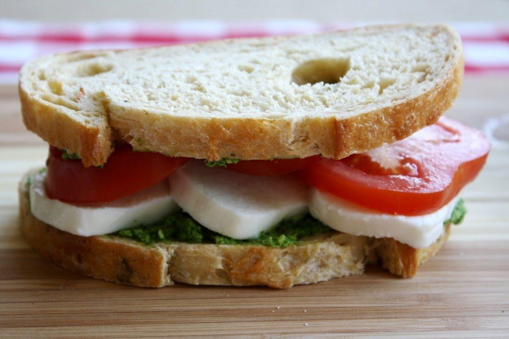 Mango & Tomato: Tomato, Mozzarella, Garlic Scape Pesto Sandwich