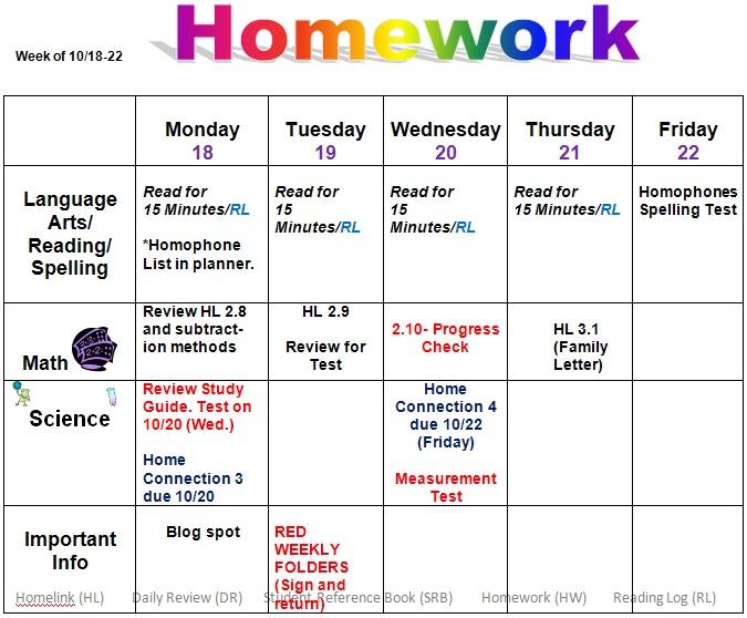 calendar homework