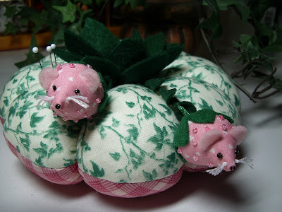 Photo of handmade pincushion with pink mice