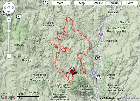 I Run Ultrascom Race Report Vermont Mile - Map how far i ran