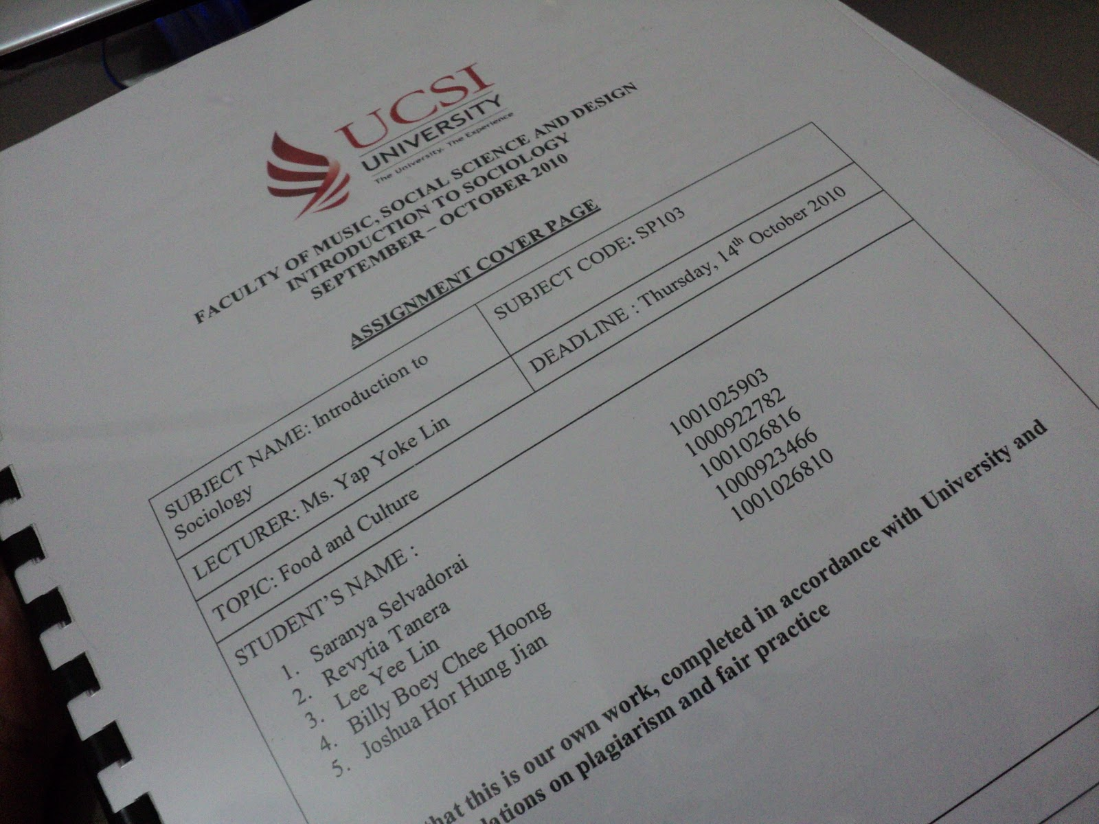 memory laine first year first sem in ucsi