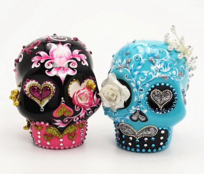 skull wedding cake toppers skull lover wedding cake topper 0066. Black Bedroom Furniture Sets. Home Design Ideas