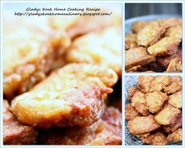 Golden Crispy Pork Cubes after Deep-fried