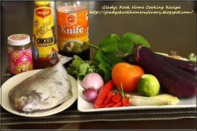Ingredients for Home-cooked Tangy Thai Tom Yam (Tom Yum) Fish