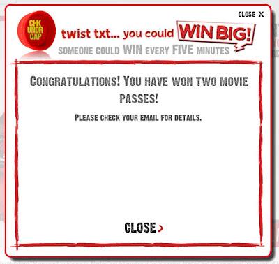 MyCoke Twist Txt You Could Win Big Promotion Winning Screen