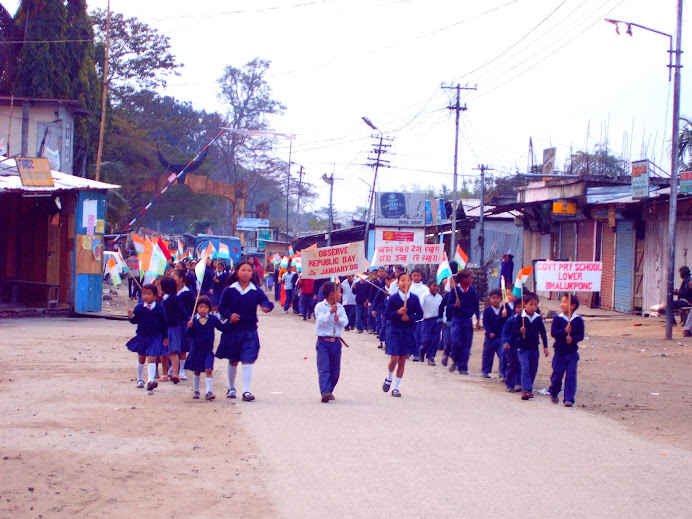 Children on Republic Day Procession at Bhalukpong