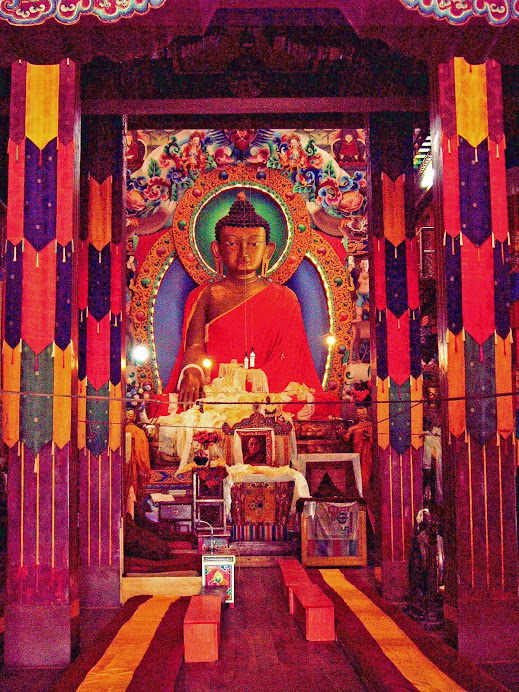 Large wooden statue of Lord Buddha in Tawang Monastery