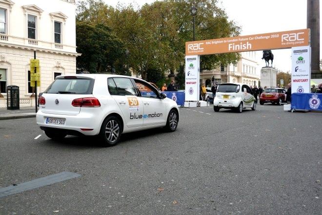 VW e-Golf queues behind Mitsubishi i-Miev
