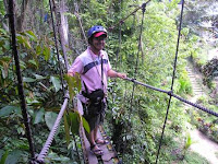 doms crosses Skybridge at Macahambus Adventure Park