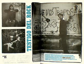 Foto de Uberto Sagramoso publicada en revista La mano. Se ve la foto descartada como tapa del disco