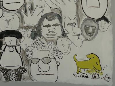El perrito del mural escarba entre huesos y calaveras