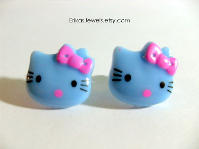 Blue Hello Kitty - Pink Bow Stud Ear rings