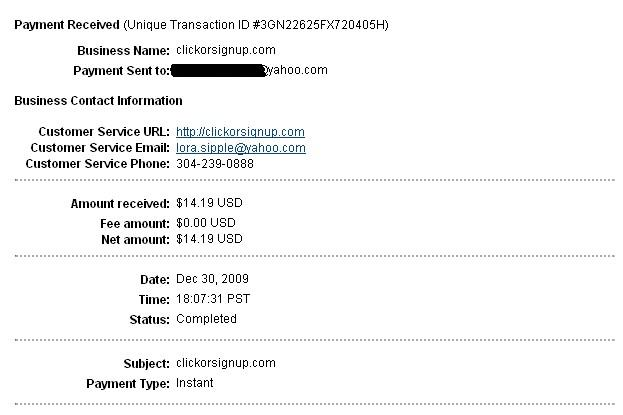 Proof of payment for DollarClickorSignup- $14.19