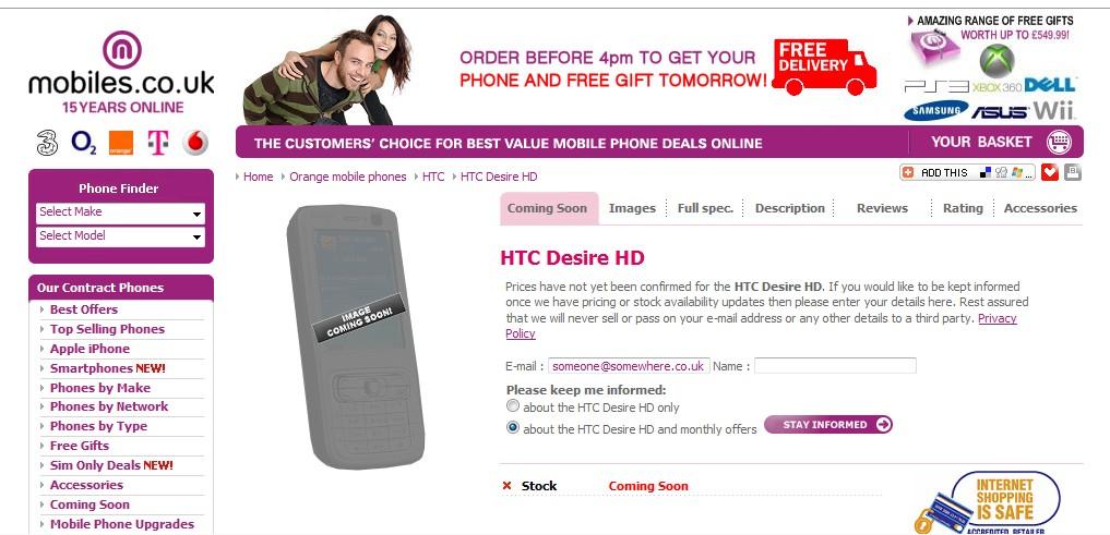 HTC Desire HD chez Mobiles.co.uk