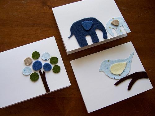 Κάρτες με σχέδια από τσόχα