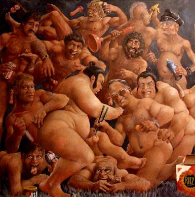 pre-aids orgy by Mel Wilken from 1978 on the wall at ToF foundation headquarters