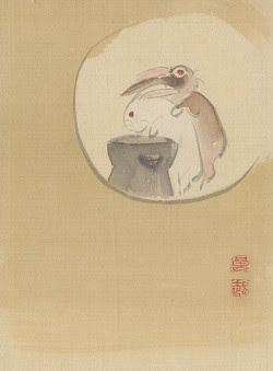 Deux lapins sur la lune