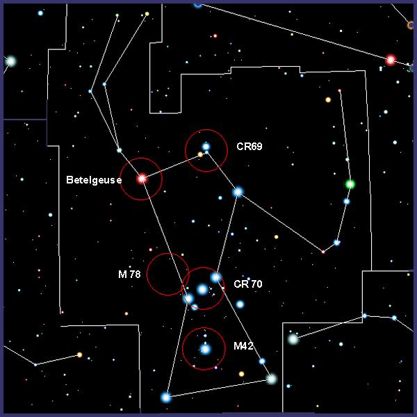Cr69 y Cr70, cúmulos en Orión con prismáticos. ORION01-CARTA
