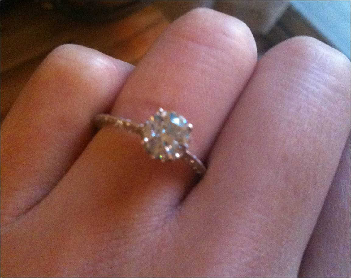 Vintage Engagement Rings On Fingers And here s the ring on my