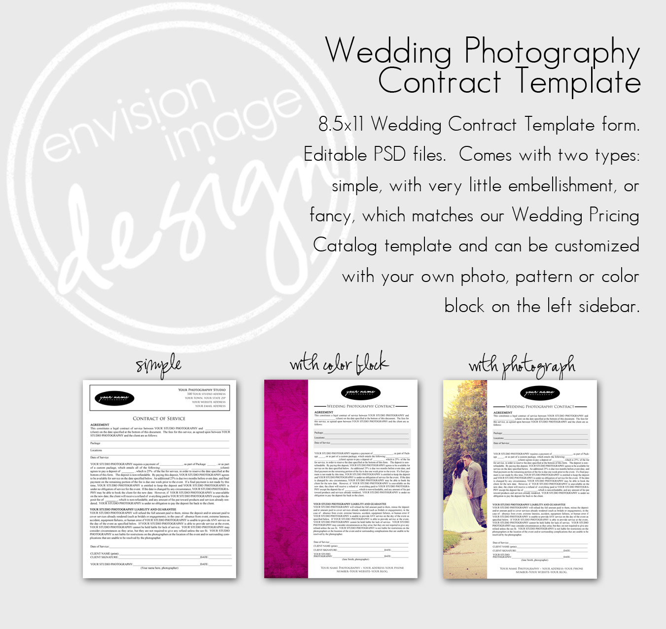 Envision Image Design Wedding Photography Contract Form Template