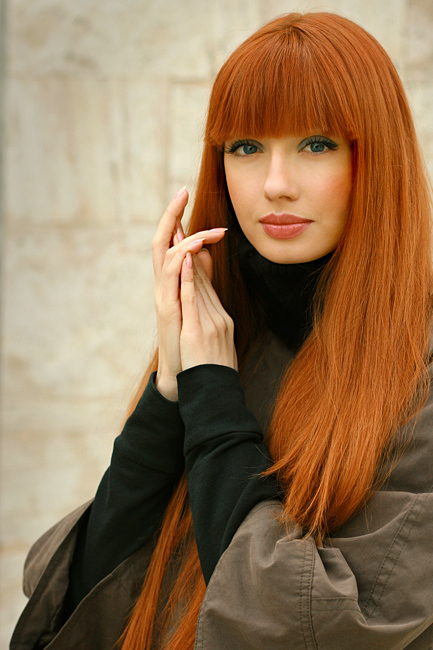red hair with blonde bangs