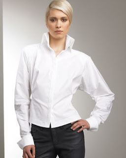 White Blouse High Collar 61