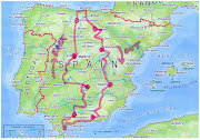 I have decided that with a few friends, a ride across Spain is needed. (spain route)