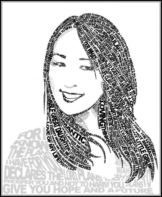 Line Art Word : Art paper scissors glue micrography portrait