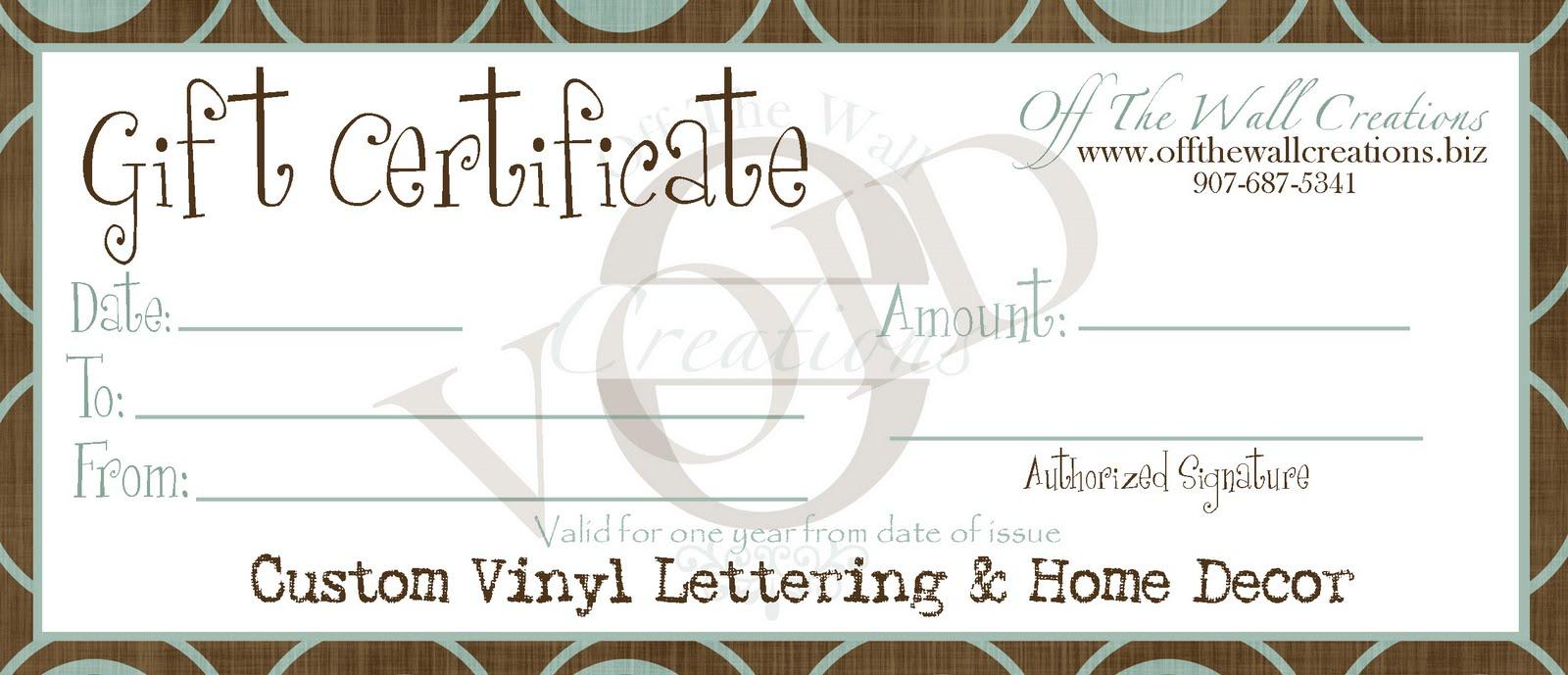 generic gift certificate printable
