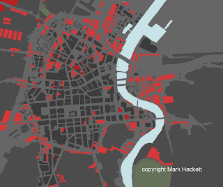 Vacant sites in red on a map of districts in Belfast within 20 minutes walk of the city centre - Mark Hackett - Forum for Alternative Belfast