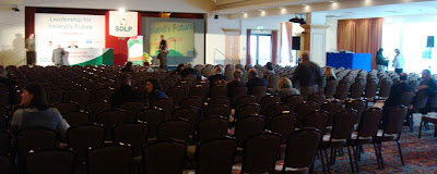 An empty hall after the morning session was meant to have started