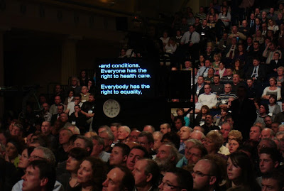 Teleprompter - showing Gerry Adams speech - Sinn Fein Ard Fheis