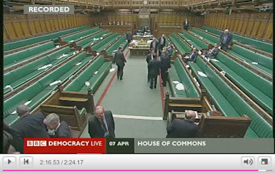 Ian Paisley taking his seat after voting against the third reading of the Digital Economy Bill