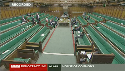 Still image from BBC Democracy live - second reading of Digital Economy Bill