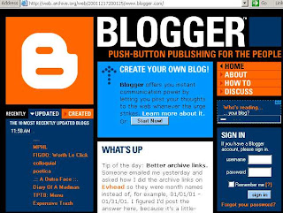blogger.com homepage from 2001