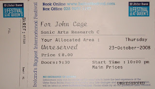 Ticket for tonight's postponed John Cage concert at Belfast Festival