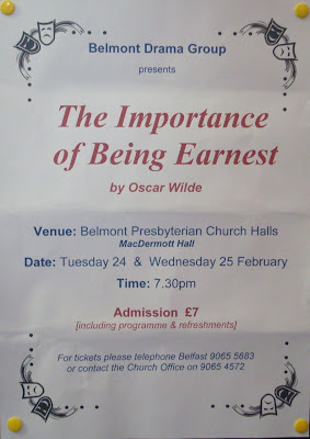 Poster for Belmont Drama Group's February 2009 performances of The Importance of Being Earnest