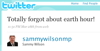 A tweet from someone pretending to be Sammy Wilson